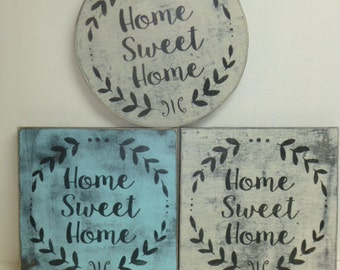 HOME SWEET HOME sign / laurel wreath welcome sign / hand painted sign / home sign / home sweet home / new house gift / wood wreath sign /