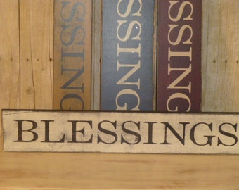 PRIMITIVE BLESSINGS SIGN / Blessings / hand painted sign / bless you sign / be blessed / count your blessings / thankful for blessings /