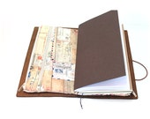 Zippered Insert for Midori Travelers Notebook, Standard Size, Personal Size, Passport Size - Tan Postcards