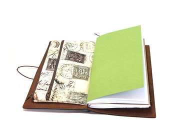 Zippered Insert for Midori Travelers Notebook, Standard Size, Personal Size, Passport Size - Tan and Brown Travel Stamps