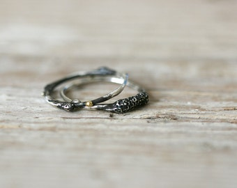 Spora Rings - Oxidized Sterling Silver Stacking Rings with 22ct Gold Beads