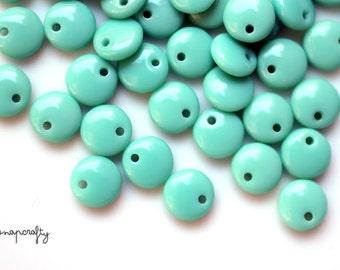 50pc turquoise glass lentil bead  / 6mm top drilled round glass beads / czech glass bead / single hole aqua lentil bead