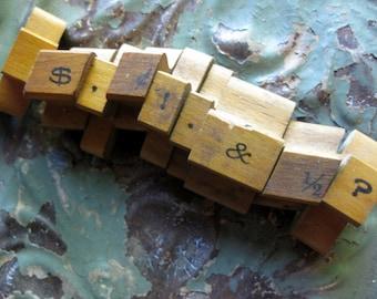 Vintage Wood Punctuation Rubber Stamps, 9 Pieces