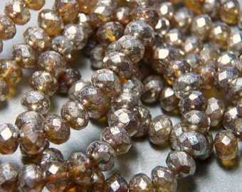 Czech Amber Mercury Glass 8x6mm Faceted Fire Polished Glass Rondelle Beads (25) 0877