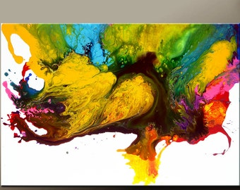Abstract Canvas Art Painting 36x24 Original Contemporary Wall Art by Destiny Womack - dWo -  Over the Rainbow