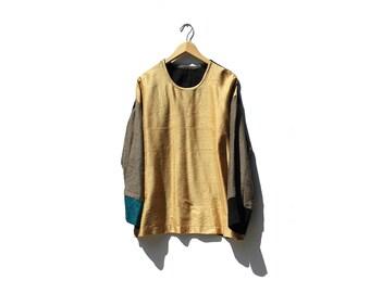 Color Block Silk Boxy Top / Oversized Top / Silk Blouse