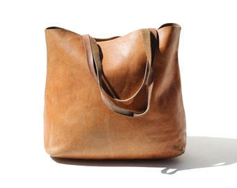 Vintage Large Brown Leather Tote Shopping Bag