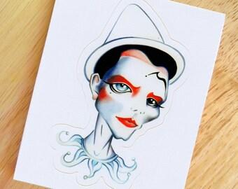 Pierrot Die-Cut Vinyl Sticker Decal - Ashes to Ashes Clown David Bowie Sketch
