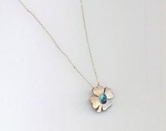 Vintage 925 Sterling Silver Clover Pendant, Slide Shamrock Pendant, Slide Charm Necklace, Mother's Day, Saint Patrick Green Gemstone Clover
