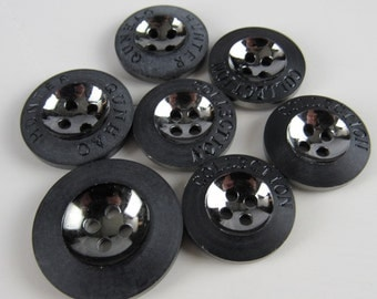 7 Mixed Black Mirrored Sew-through Buttons