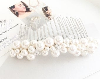 Swarovski Pearl and Crystal Bridal Hair Comb, Wedding Day Pearl Hair Accessory, Blush, White, Ivory, Accessory for Bridal Up-do
