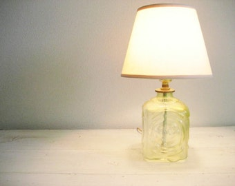 Vintage Small Yellow Glass Block Lamp- Works Great!