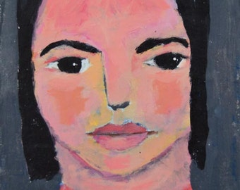 Acrylic Girl Portrait Painting. 4x4 Mini Painting. Wall Art Painting. Gift for Women.
