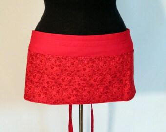 Vendor Apron / Craft Show Apron / Garage Sale Apron / Waitress Apron - Red on Red Flowers