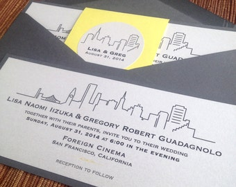 San Francisco Wedding Invitation / Modern City Skyline / Rsvp Map Details Card