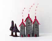 Houses Ornaments Rustic Home Decor Felt  New home housewarming gift Miniature grey and magenta tones