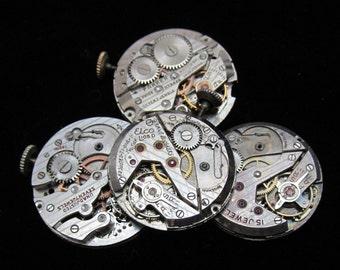 Vintage Antique Round Watch Movements Steampunk Altered Art Assemblage A 35