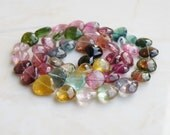 Outstanding Tourmaline Gemstone Briolette Faceted Heart Center Drilled 6.5mm 27 beads 1/2 Strand