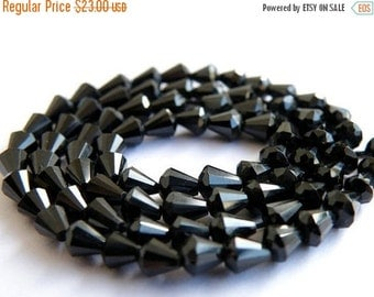 Clearance SALE AAA Black Spinel Gemstone Faceted drop 4 to 5mm Full Strand 70 beads