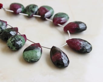 Outstanding Ruby in Zoisite Gemstone Faceted Pear 19 to 19.5mm 5 beads