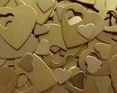 "Brass Heart Pendants - Qty 3, 1 1/4"", Bopper, Brass Heart Washers, Pendants, stamping blanks, metal stamping blanks, heart blanks"