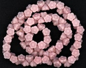 Vintage Pink Flower Beads 7mm Button Back Rosy Opaque Glass 25 Pcs.