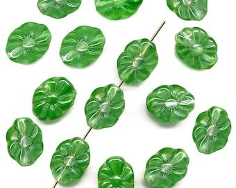 Vintage Flower Beads 15mm Green Givre 15 Pcs. Flat Oblong Shape