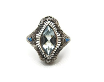 Art Deco Ring - Sterling Silver Filigree, Aquamarine Glass, Opals