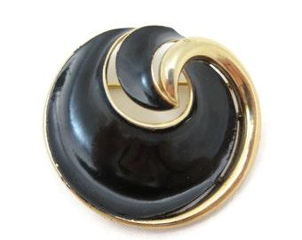 Black Enamel Brooch - Vintage Trifari Costume Jewelry