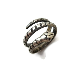 Taxco Silver Snake Ring - Sterling Wrap Ring, Estate Jewelry, Serpent, Boho Ring