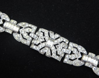 Trifari Bracelet - 1930s - 1940s Clear Rhinestones, Art Deco Bracelet, Costume Jewelry, Pave, Old Hollywood