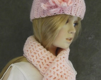 Clothing,Girls,Accessory,Scarf,Hat,Pink,Crochet, Hat Set,Toddlers,Children,Crochet Flower,