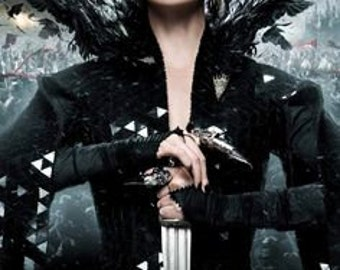 Custom Made Snow White and the Huntsman Evil Queen Black Gown Dress with feathers