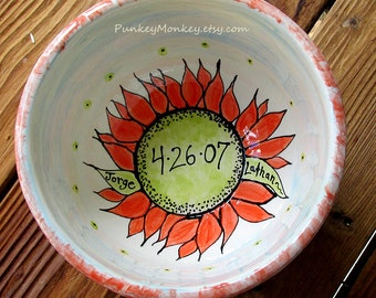 Custom Wedding gift Anniversary spring wedding bowl xlarge serving bowl gift personalized mixing bowl rustic sunflower bowl family gift