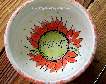 Custom wedding bowl pottery anniversary bowl xlarge serving bowl gift personalized mixing bowl with names kiln fired rustic sunflower bowl