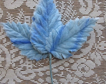 6 Vintage Millinery Leaves 1950s Germany Pale Blue Ombre Velvet  Leaves  VL A2 LB