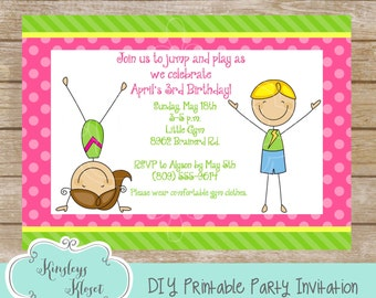 Gymnastics Party Gymnastics Invitation Gymnastics Birthday Gymnastics Party Favor Gymnastics Party Printable Gymnastics Birthday Party