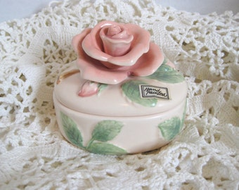 Vintage Fitz & Floyd Rose Keepsake Jar Vanity Jar Trinket Box