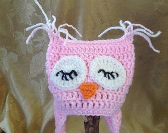 NB Sleepy Sweet Owl Hat, newborn, photo prop