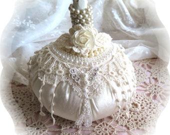 Shabby Chic Velvet Lace and Pearls Fabric Pumpkin  Ivory Velvet Pumpkin Autumn Centerpiece Fall Decor