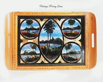 Vintage Butterfly Wing Tray, Handmade, Wood Inlay, Tropical Painting / Glass