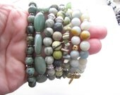 Set of 7 Bracelets, Gemstone Green Aventurine, Amazonite, Dragonfly, Bee, Clover Charms, Stretch Elastic Stacking Stackable Bracelets