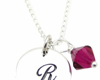 """Personalized, Initial Jewelry, Sterling Silver Initial Charm, Birthstone Swarovski Crystal, Sterling Silver Necklace 18"""", Christmas Gift"""