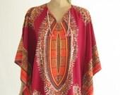 Vintage 70's Dashiki  Angel Wing Ethnic Maxi Caftan Dress.