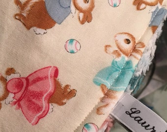 Busy Bunnies Drool Bib for Girls and Boys