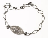 Pavé Diamond Bracelet Oxidized Silver Precious Diamond Bracelet Gemstone Bracelet Real Diamond Jewelry PD-B-118-os