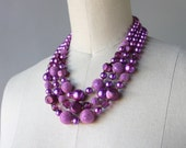 1960s Necklace / Vintage 60s Multi Strand Beaded Necklace / 60s Iridescent Purple Glass Pearl Necklace