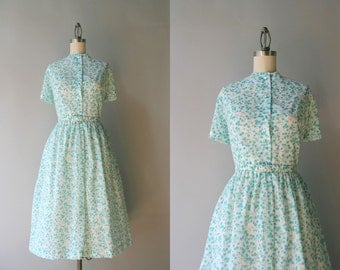 1960s Day Dress / Vintage 50s Blue Floral Shirtwaist Dress / Early 60s White Button Down Dress
