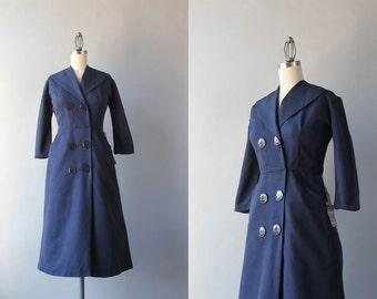 1950s Dress / Vintage 50s Navy Blue Faux Wrap Dress / 50s Deadstock Shawl Collar Dress