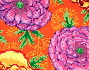Kaffe Fassett Henley Orange Flowers Phillip Jacobs Fabric 1 yard